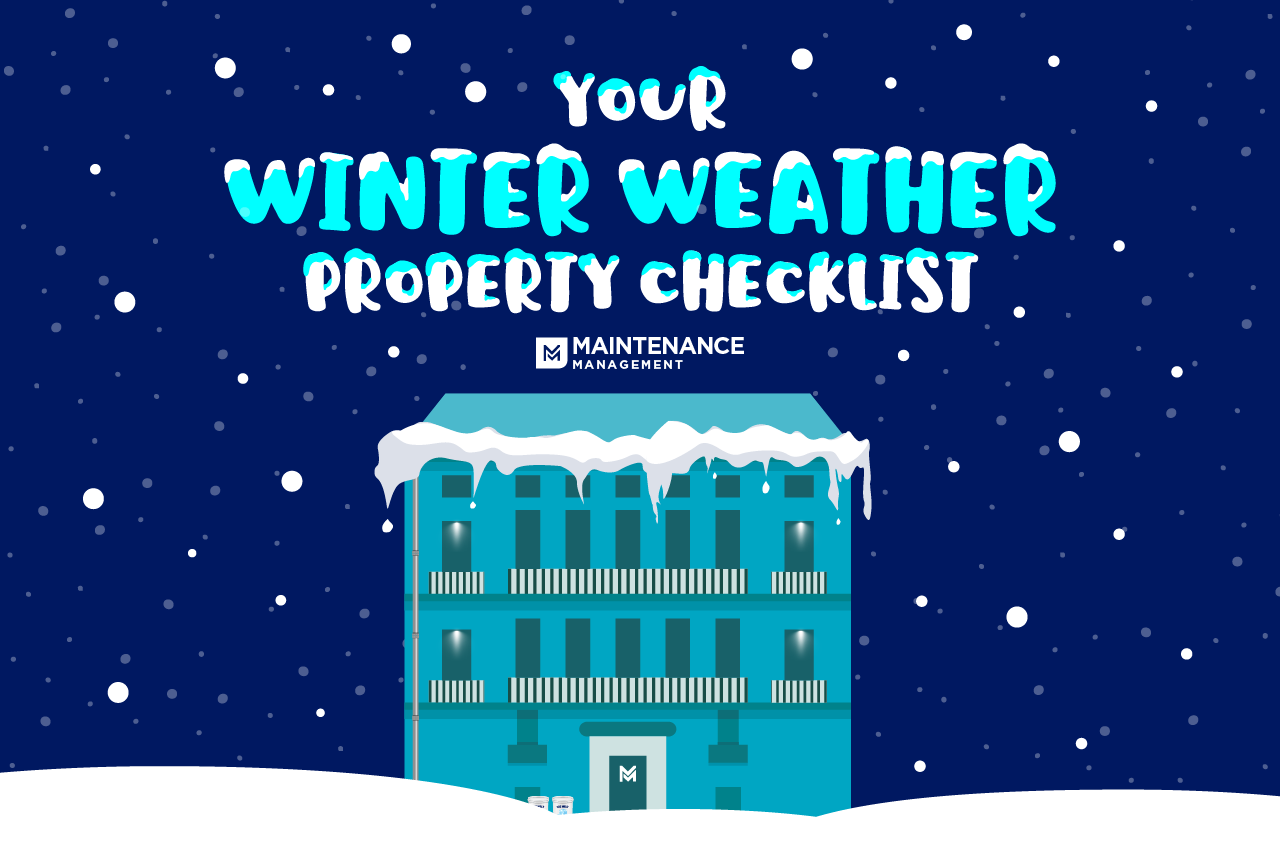 Your winter property checklist with maintenance management logo image with building and snowy scene